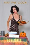 Our pinup dress, pumpkin, rolling pin, table, etc