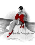 Our bow, red shoes, white fuzzy throw