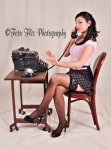 Our props: vintage typewriter, vintage phone, clothing, chair, table